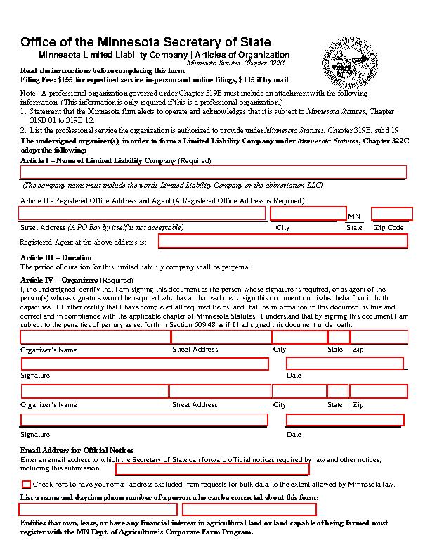 Minnesota Articles Of Organization