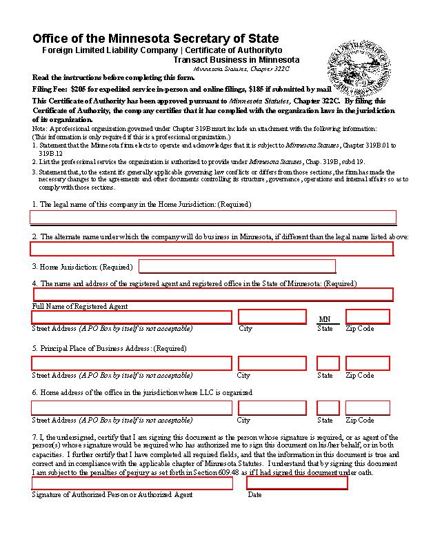 Minnesota Certificate Of Authority