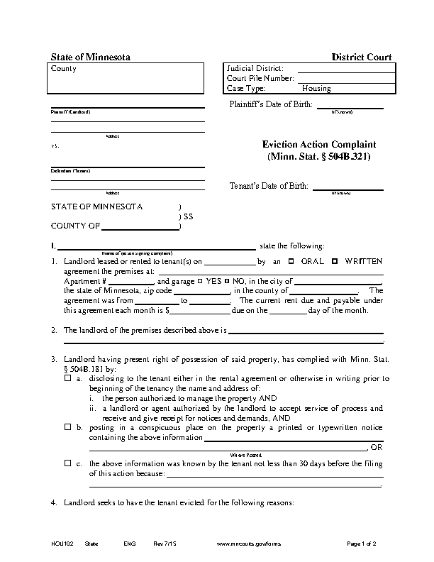 Minnesota Eviction Complaint Form