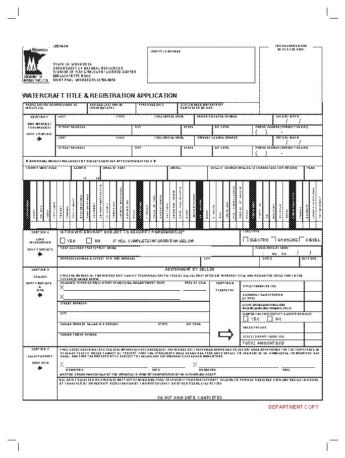 Minnesota Watercraft Title And Registration Application