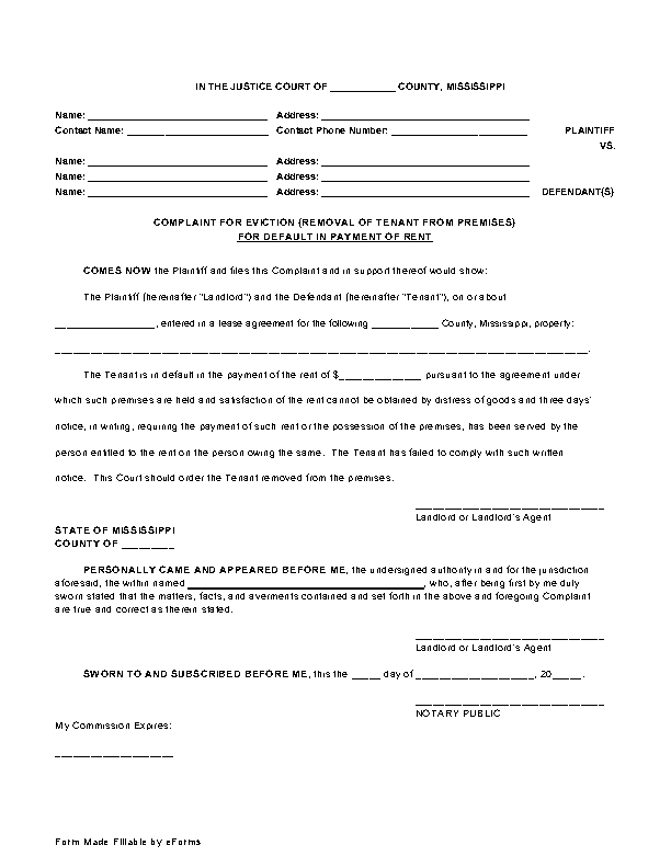 Mississippi Complaint For Eviction Non Payment Of Rent