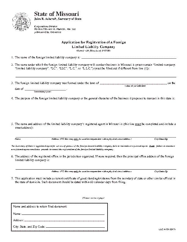 Missouri Application For Registration