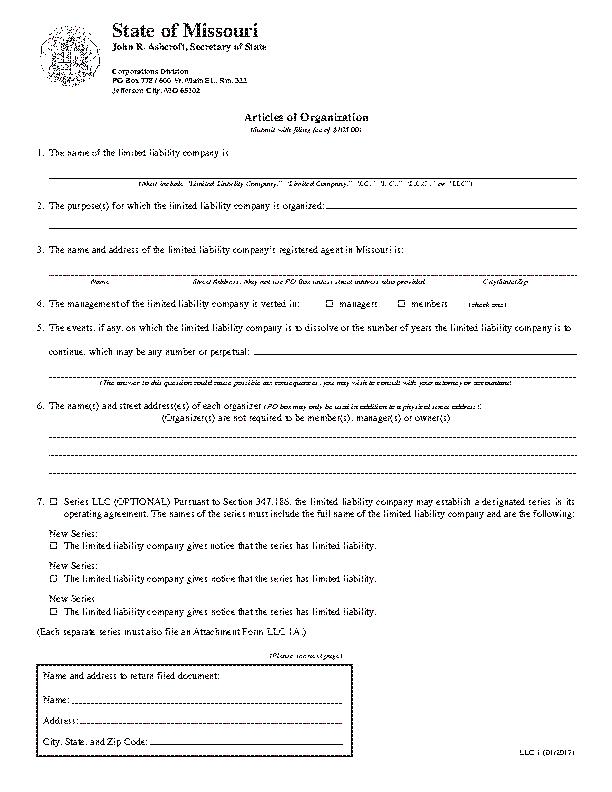 Missouri Articles Of Organization