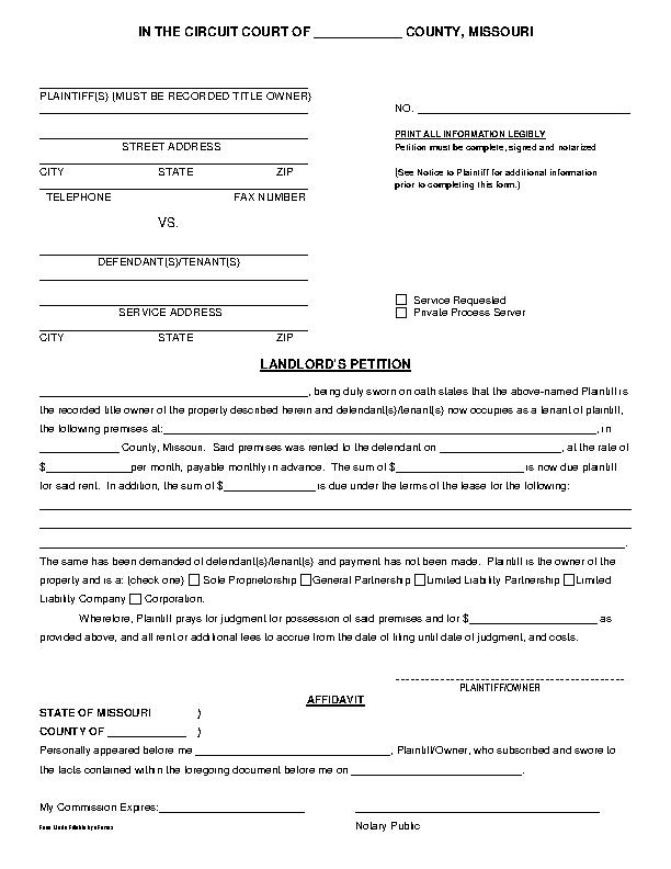 Missouri Landlords Eviction Petition