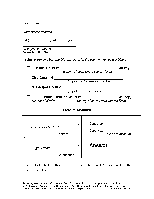 Montana Action For Possession Answer Form