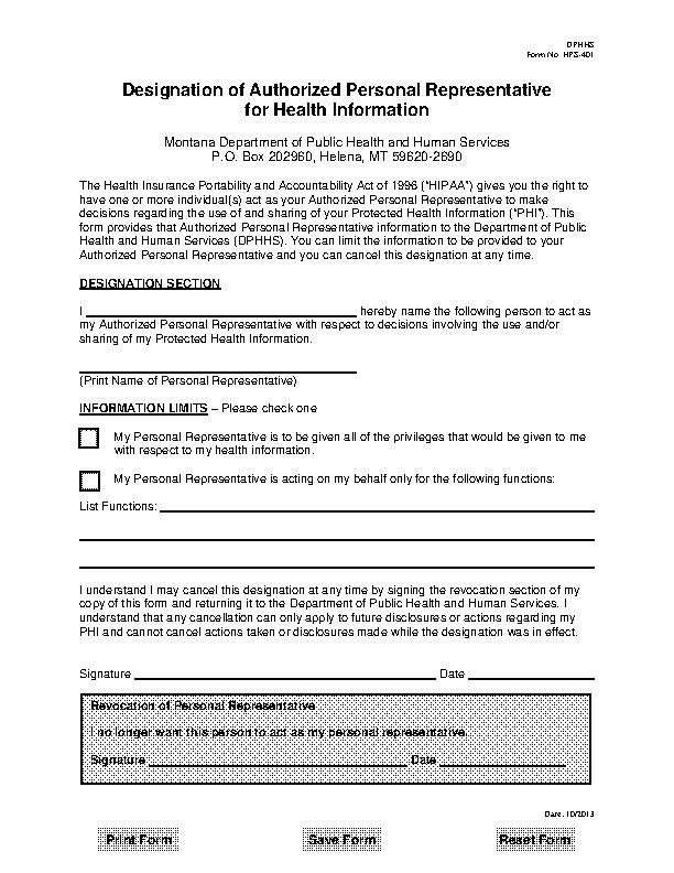 Montana Hipaa Authorization Form