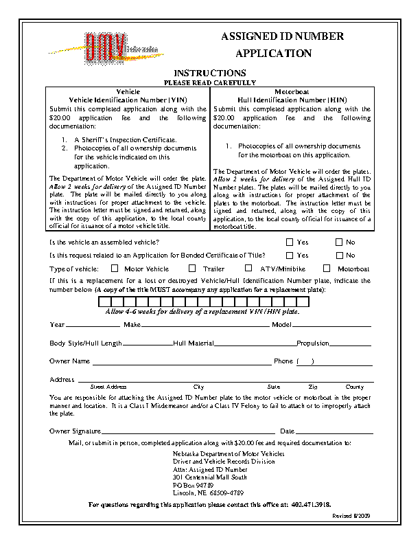 Nebraska Assigned Number Id Application