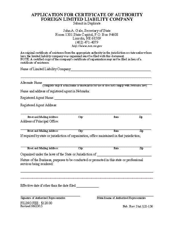 Nebraska Certificate Of Authority
