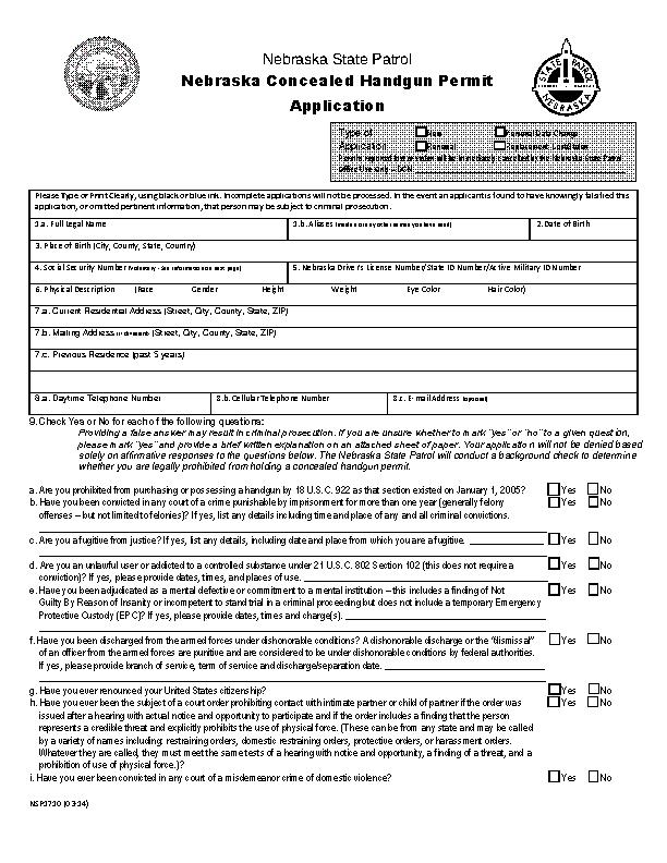 Nebraska Concealed Handgun Permit Application Form