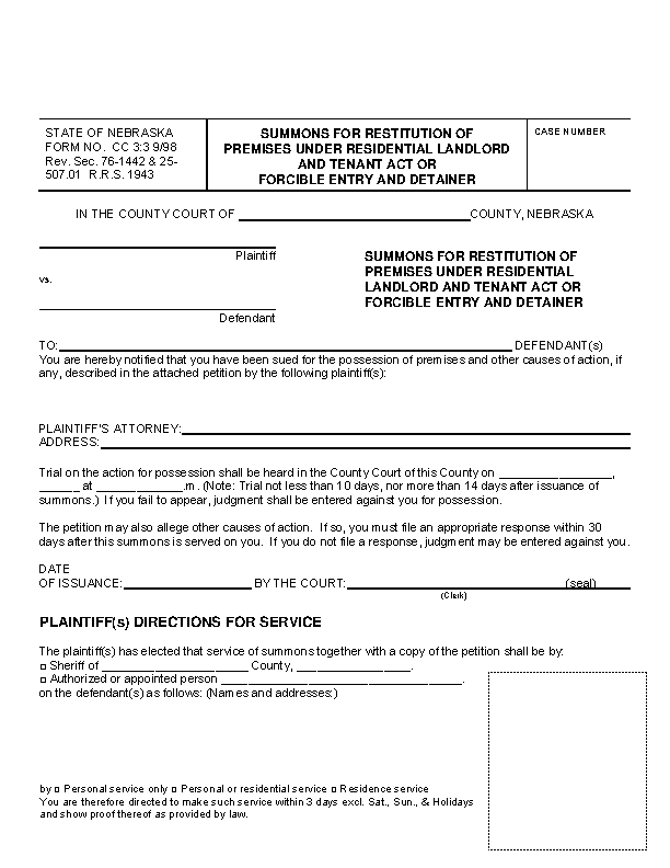 Nebraska Eviction Summons Form