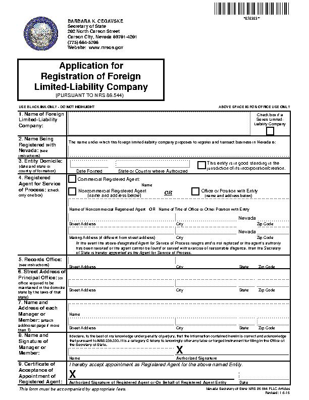 Nevada Application For Registration