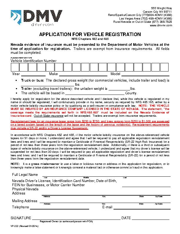 Nevada Application For Vehicle Registration Vp222