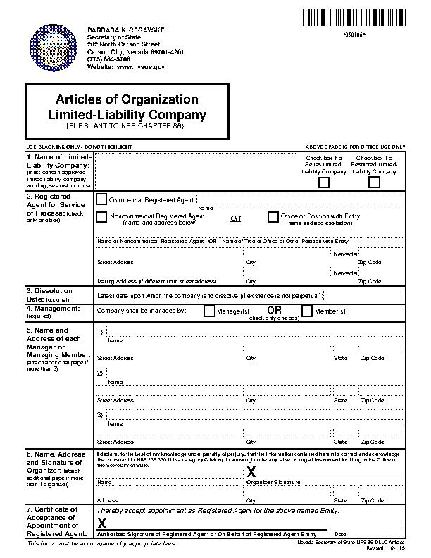 Nevada Articles Of Organization