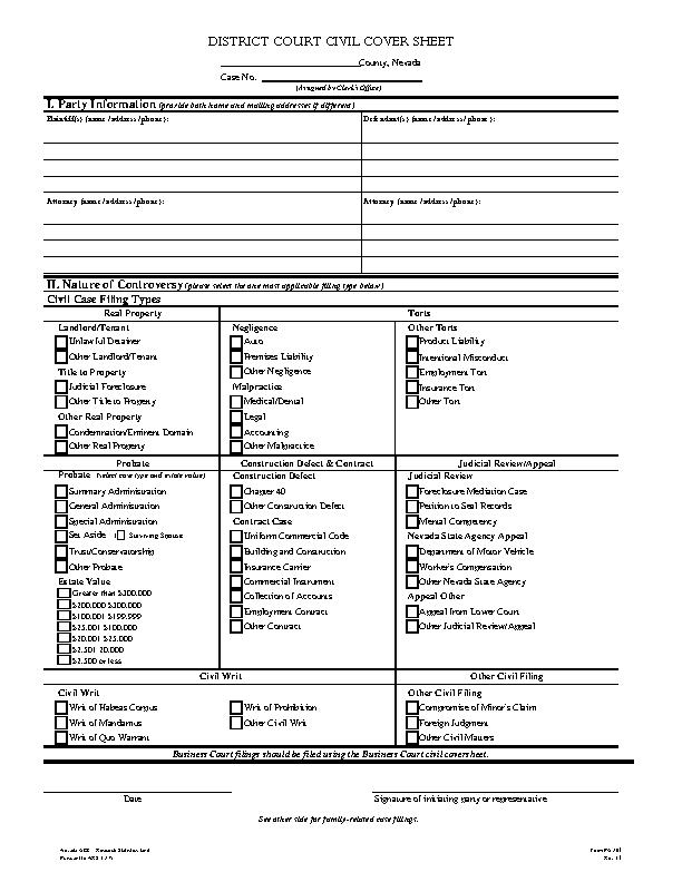 Nevada Civil Case Cover Sheet