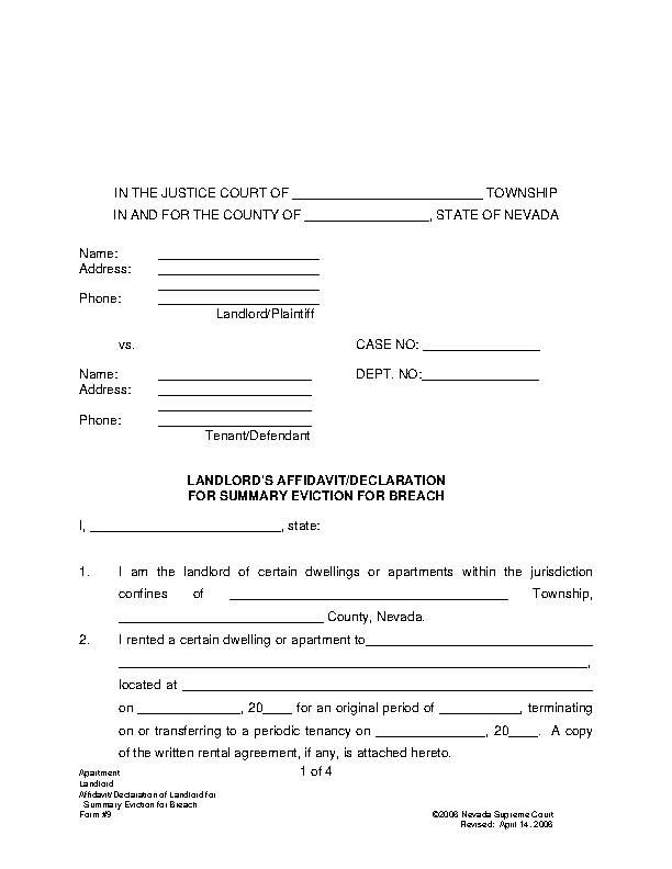 Nevada Summary Eviction Complaint For Other Than The Non Payment Of Rent