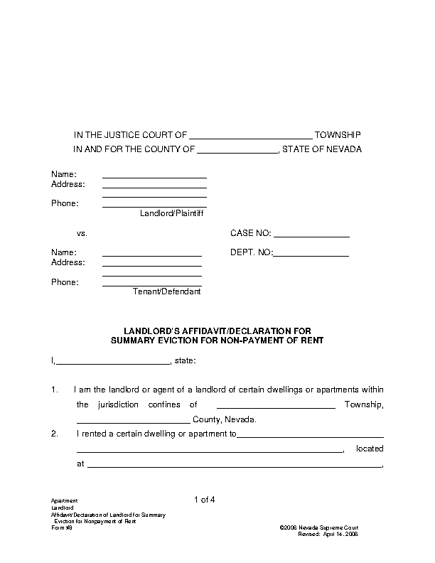 Nevada Summary Eviction Complaint For The Non Payment Of Rent