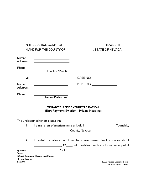 Nevada Tenant Answer Form Non Payment Of Rent