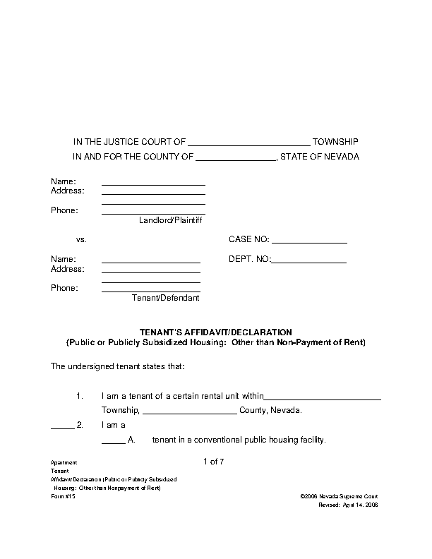 Nevada Tenant Answer Form Subsidized Housing