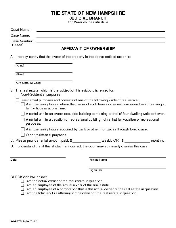 New Hampshire Affidavit Of Ownership Form