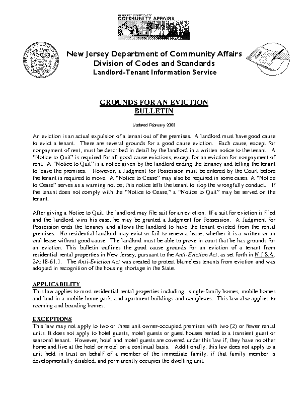 New Jersey Grounds For Eviction Guide