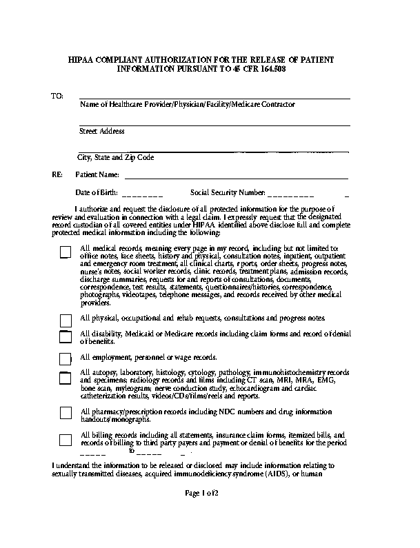 New Jersey Hipaa Release Form