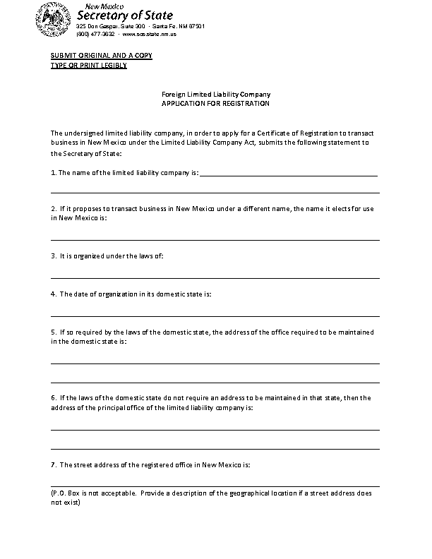 New Mexico Application For Registration