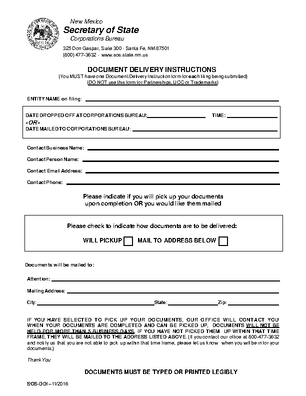 New Mexico Document Delivery Instructions
