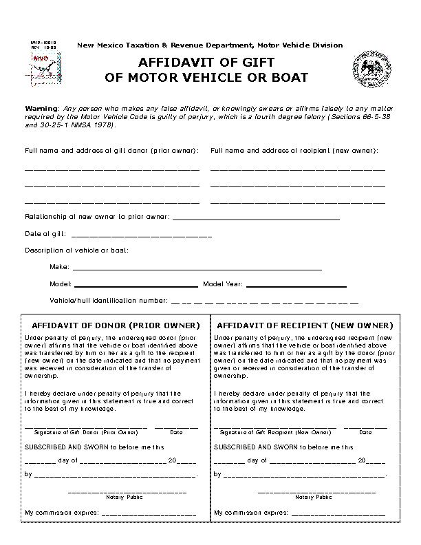 New Mexico Gift Of Motor Vehicle Or Boat Affidavit Form Mvd10018
