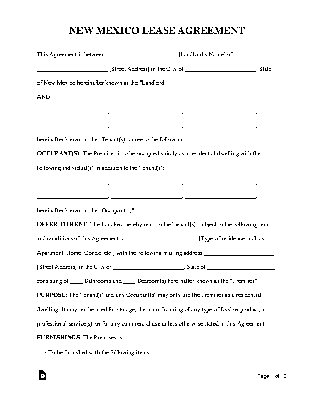 New Mexico Standard Residential Lease Agreement Template