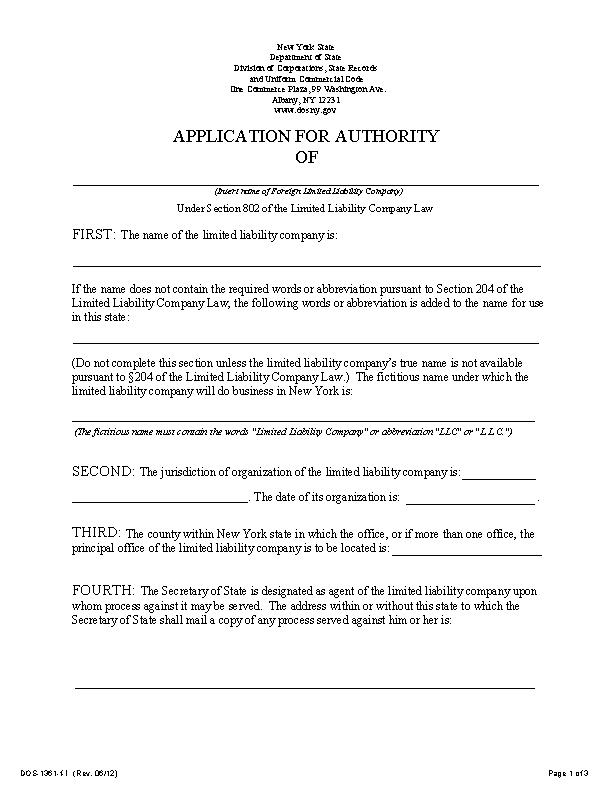 New York Application For Authority