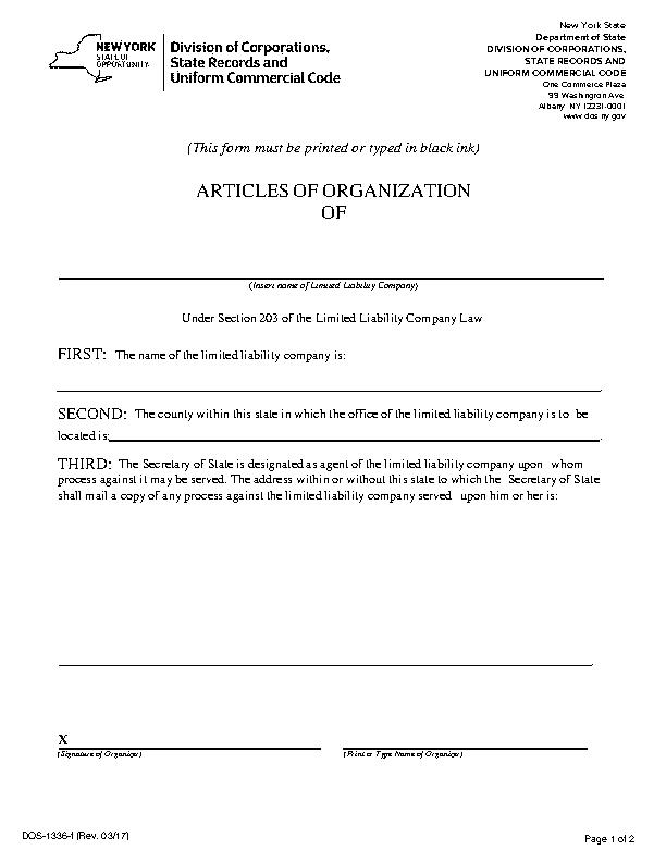 New York Articles Of Organization
