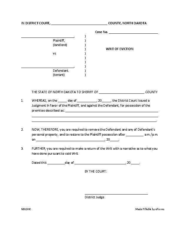 North Dakota Writ Of Eviction