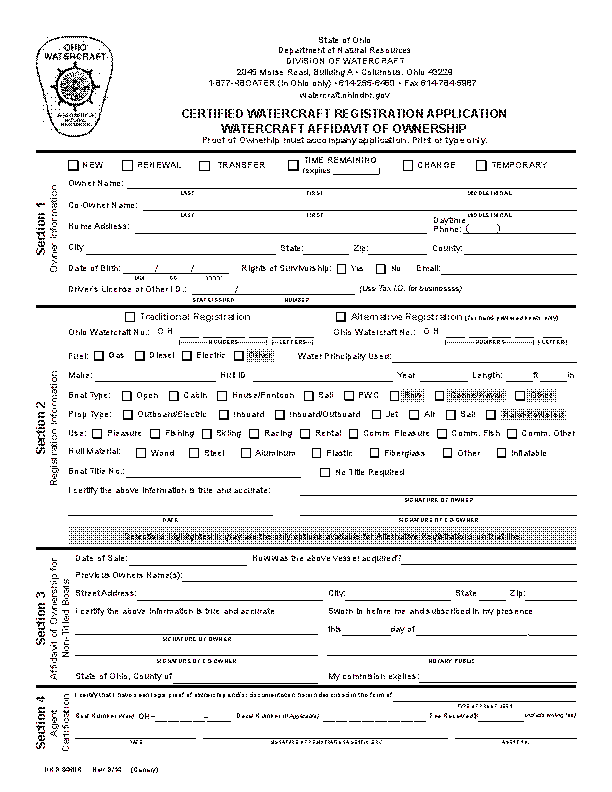 Ohio Certified Watercraft Registration Application Dnr8460