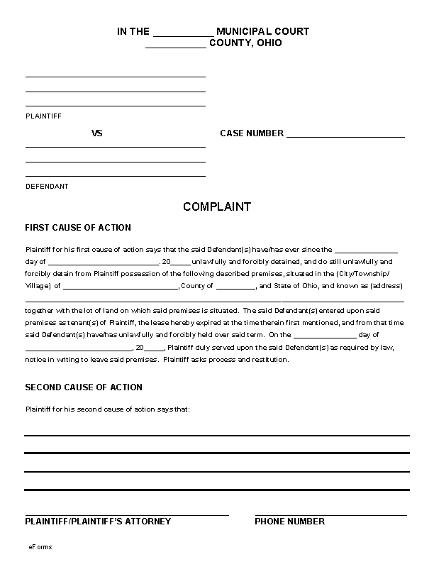 Ohio Eviction Complaint Form