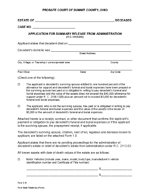 Ohio Small Estate Affidavit