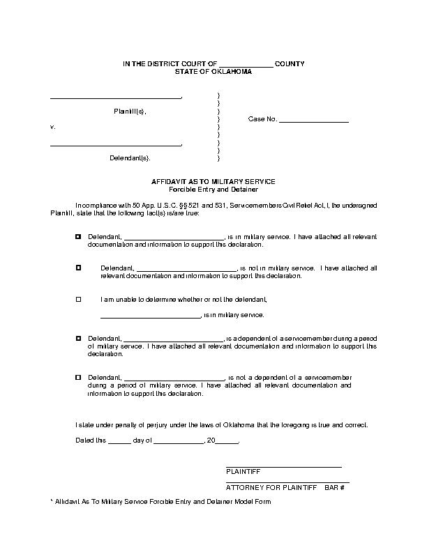Oklahoma Affidavit Of Military Service