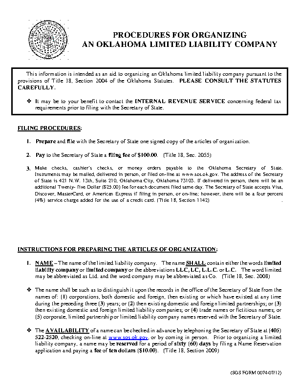 Oklahoma Articles Of Organization