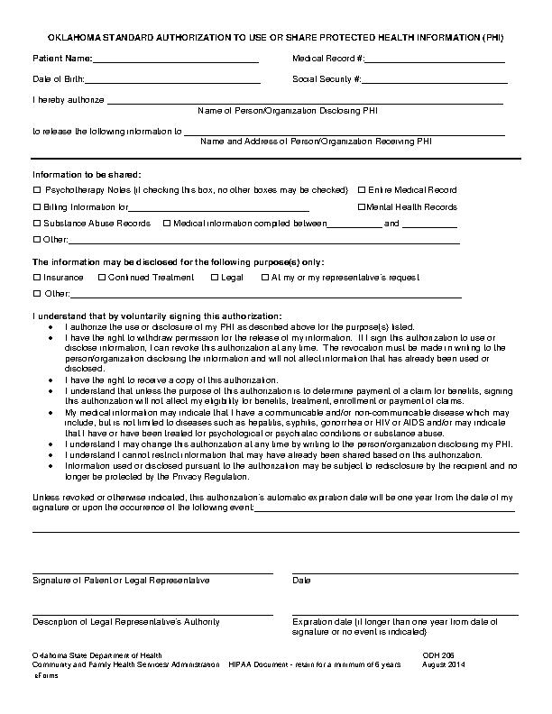 Oklahoma Hipaa Medical Release Form