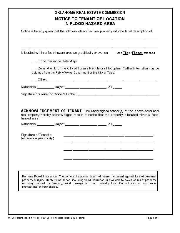 Oklahoma Notice Of Flood Zone Form