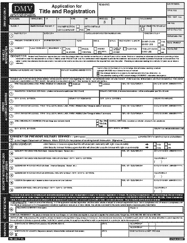 Oregon Application For Title And Registration 226