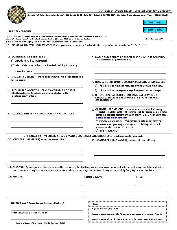 Oregon Articles Of Organization