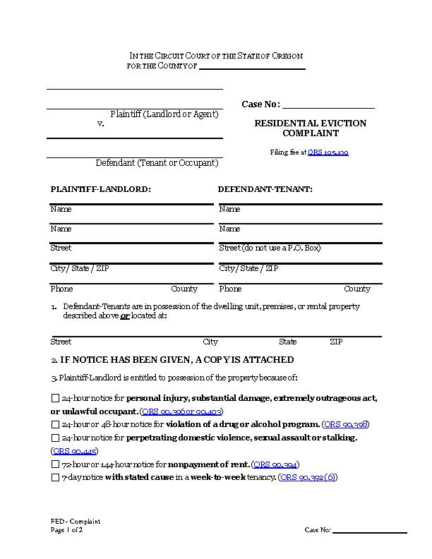 Oregon Eviction Complaint Form