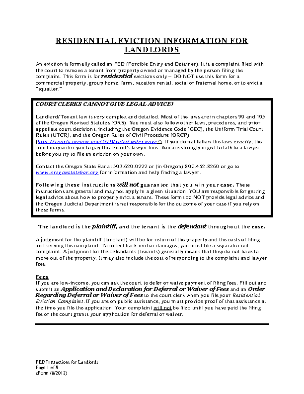 Oregon Eviction Information For Landlords