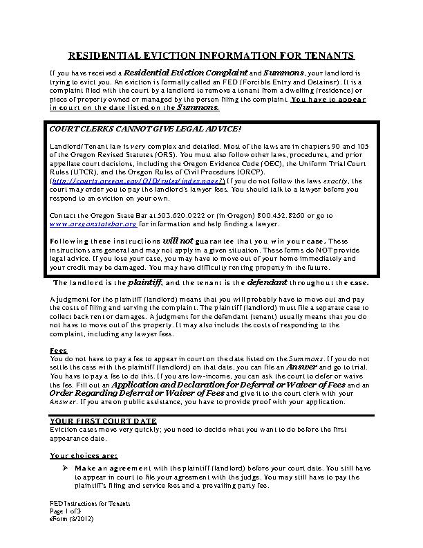 Oregon Eviction Information For Tenants