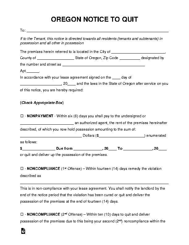 Oregon Eviction Notice To Quit Form