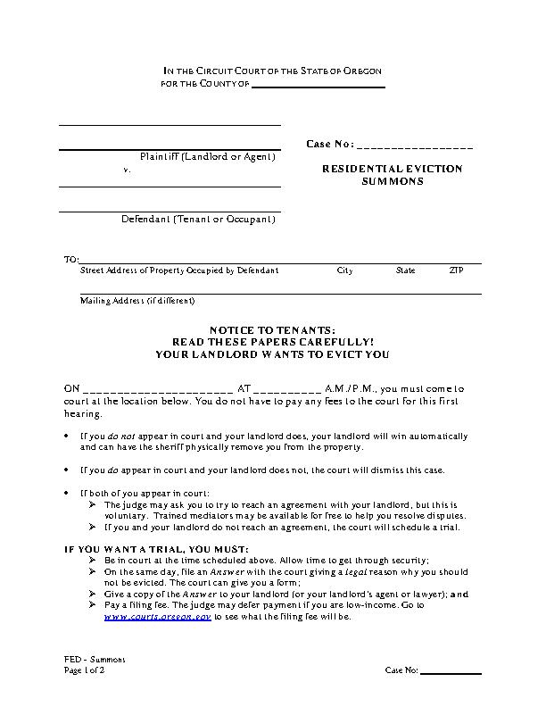 Oregon Eviction Summons Form