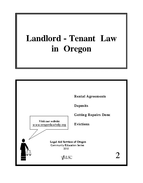 Oregon Landlord Tenant Booklet