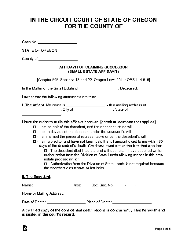Oregon Small Estate Affidavit Form