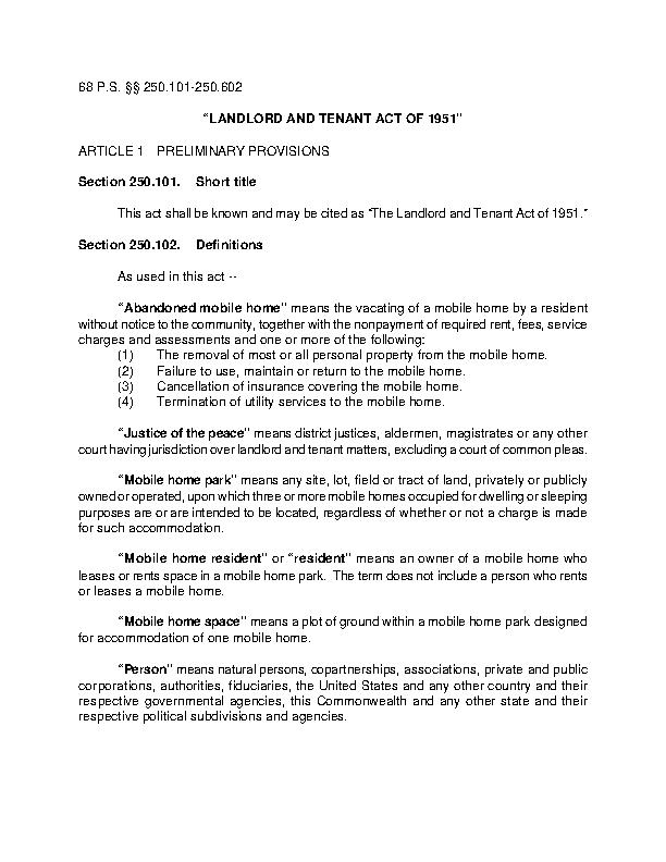 Pa Landlord Tenant Act