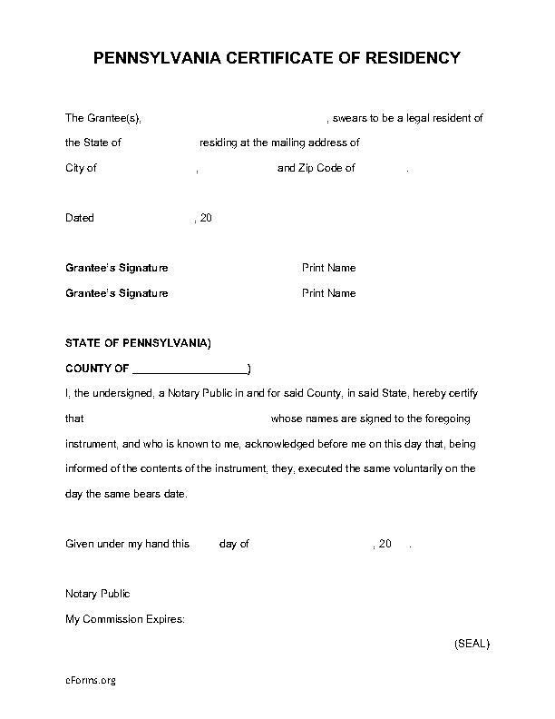 Pennsylvania Certificate Of Residency For Deed